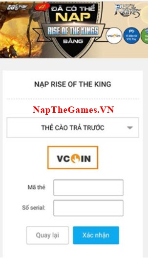 nạp rise of the kings