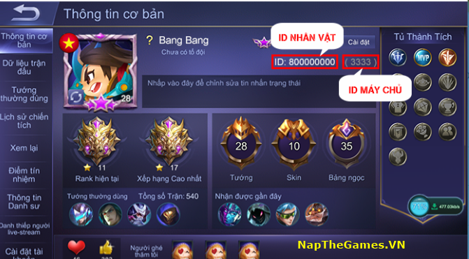 nạp thẻ mobile legends