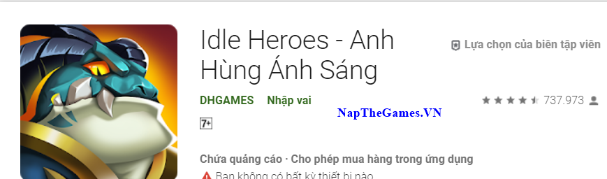 nạp thẻ game idle heroes