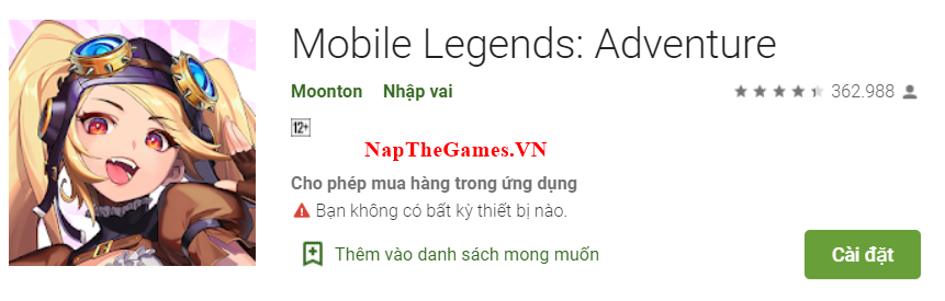 Nạp Thẻ Mobile Legends: Adventure